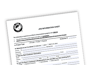Job Information Sheet Rain for Rent